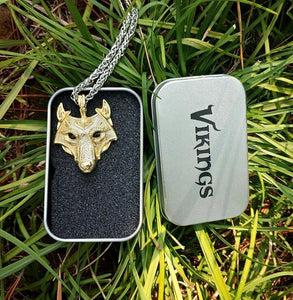 Vikings - Norse Wolf Head Pendant Necklace Gold