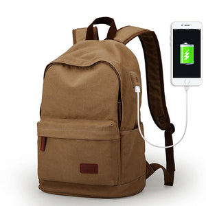 Male Canvas Backpack Coffee Usb