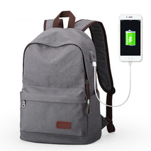 Male Canvas Backpack Gray Metal Usb