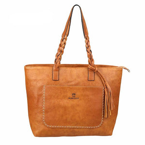 Luxury Leather Handbag Light Brown