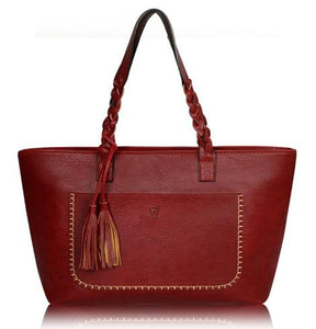 Luxury Leather Handbag Red