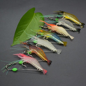 7 pcs/lot Silicon Lures Luminous Fishing Shrimp Lures
