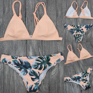 Bikinis Set Padded Push-up Bikini -  Leaf Pattern