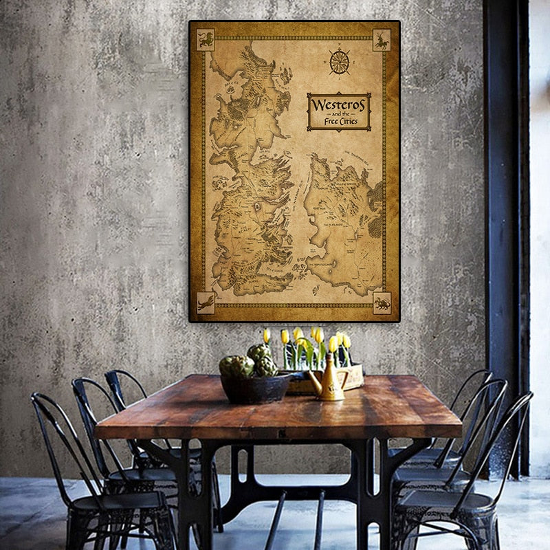 Game Of Thrones - Poster - Wall Art - Vintage Map