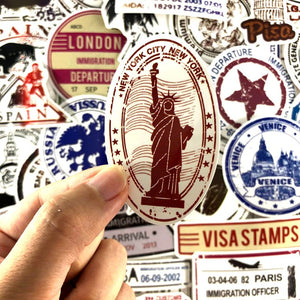 60PCS Postmark Stamp Graffiti Stickers For Laptop Luggage Toy Refrigerator Skateboard Notebook