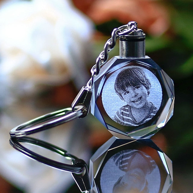 Crystal Keychain with Customizable Photo