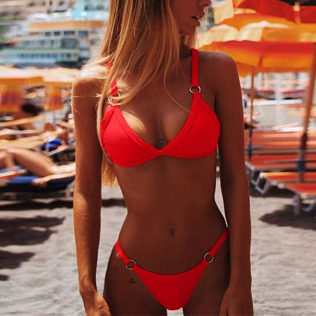 Brazilian Red Push-Up Bandage Swimwear Women Bikini