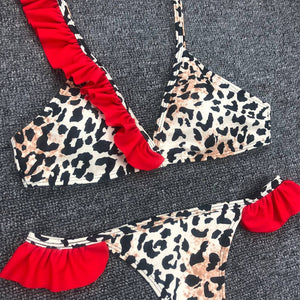 Zebra Bikini / Swimsuit with Red Details