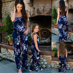 Family Matching Outfits Mother and Daughter Clothes Boho Beach Summer Sleeveless Floral Jumpsuit Flower Romper