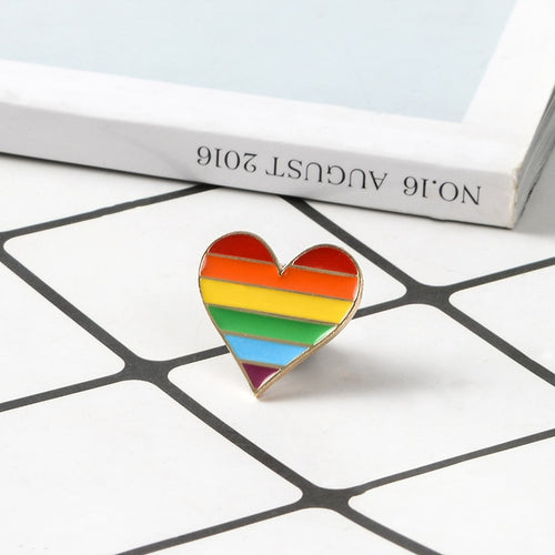 LGBT Rainbow Heart Badge -  Pride Pin
