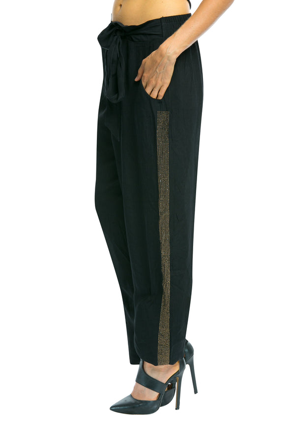 BLACK CRYSTAL COLLECTION - Slouchy Tuxedo Trouser w/ Gold Crystals