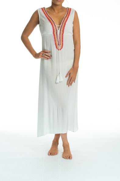BELLA VISTA EMBROIDERED SLEEVELESS DRESS IN WHITE - TheSwankStore - 1