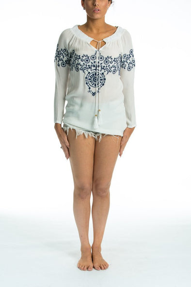 CARMEN - TUNIC TOP (White with Blue Embroidery) - TheSwankStore - 1