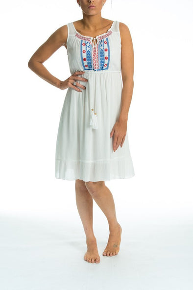 LAPAZ - Maxi Dress in white with blue embroidery - TheSwankStore - 1