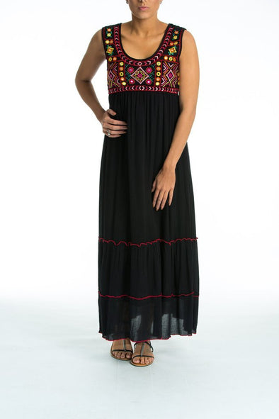FLORENTIA - Sleeveless Maxi Dress in Black - TheSwankStore - 1