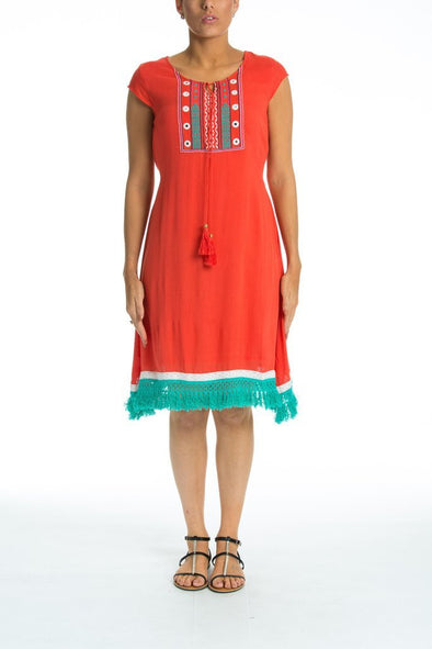 FAIRLIGHT - Day Dress With Short Sleeves - Coral Red - TheSwankStore - 1