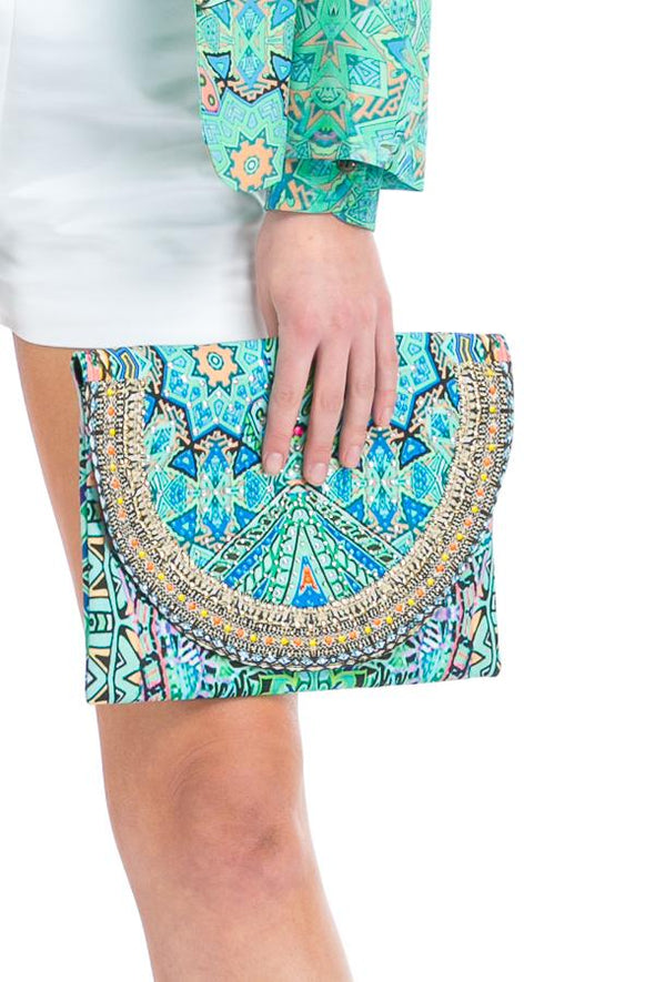HANDBAGS - EMERALD FOREST CANVASS CLUTCH WITH CRYSTALS