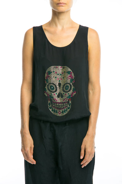 BLACK CRYSTAL COLLECTION - SKULL TANK TOP IN BLACK