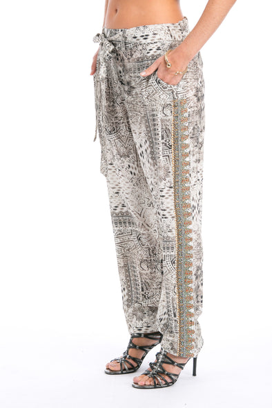 BLANCO LaNEVE - SILK EMBELLISHED TROUSERS