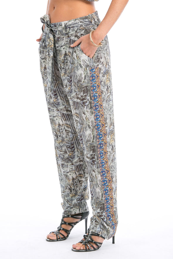 MUSEE' COLLECTION - SILK EMBELLISHED TROUSERS