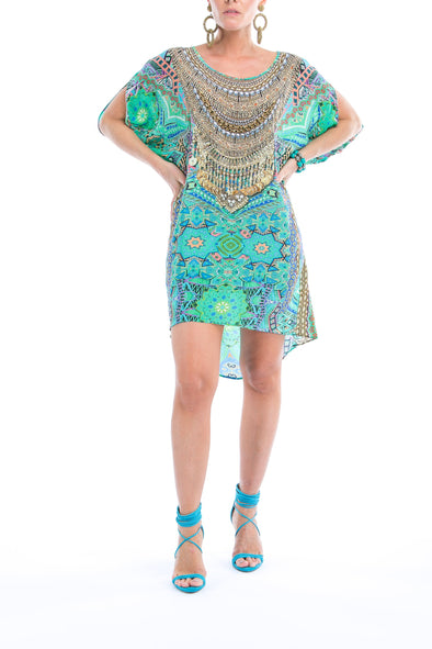 EMERALD FOREST -  Kaftan Tunic Top (Longer Style)