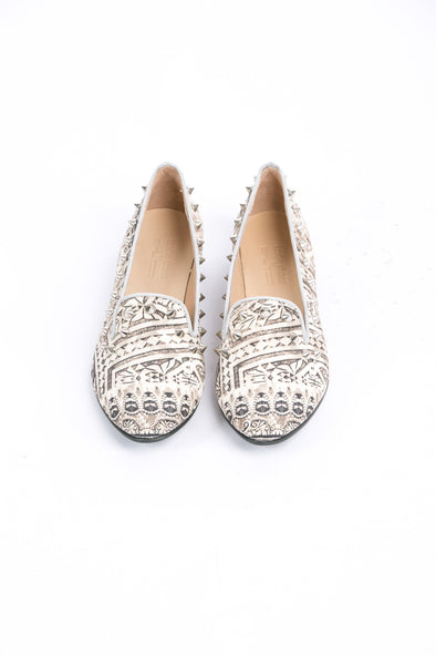 SHOES - BLANCO LaNEVE COLLECTION, LOAFER WITH SILVER STUDS