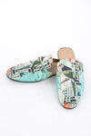 SHOES - MENS COLLECTION  BIRDCAGE, MULE SLIP ON WITH GOLD BUCKLE & LEATHER INNER