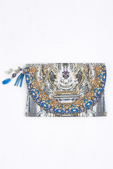 HANDBAGS - MUSEE' COLLECTION CANVASS CLUTCH WITH CRYSTALS