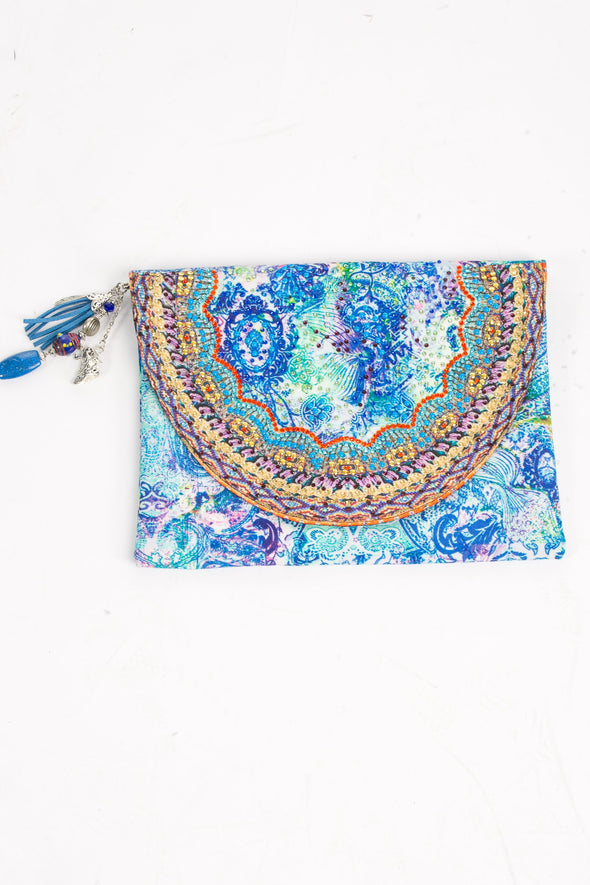 HANDBAGS - AMALFI AZURE CANVASS CLUTCH WITH CRYSTALS