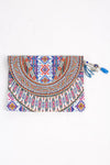 HANDBAGS - PERUVIAN COLLECTION CANVASS CLUTCH WITH CRYSTALS
