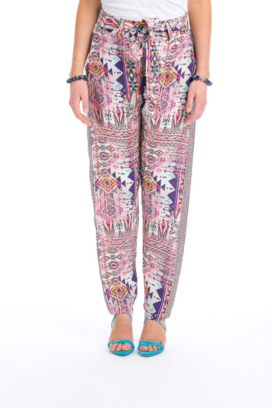 PERUVIAN COLLECTION - SILK EMBELLISHED TROUSERS