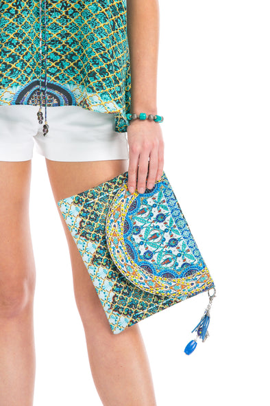 HANDBAGS - MARRAKESH CANVASS CLUTCH WITH CRYSTALS
