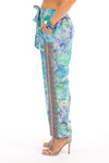 AMALFI AZURE - SILK EMBELLISHED TROUSERS