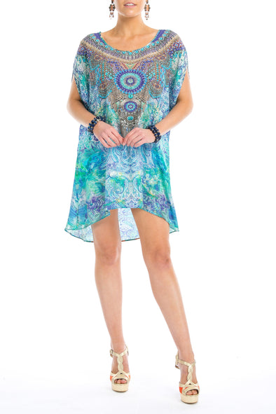 AMALFI AZURE -  Kaftan Tunic Top (Longer Style)