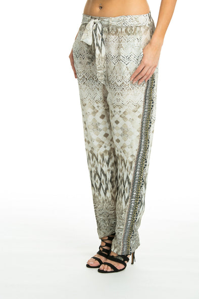 MONTE BLANCO - SILK EMBELLISHED TROUSERS - TheSwankStore - 1
