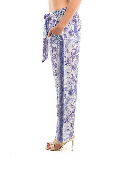 CHYNA BLUE COLLECTION - SILK EMBELLISHED TROUSERS/PANTS