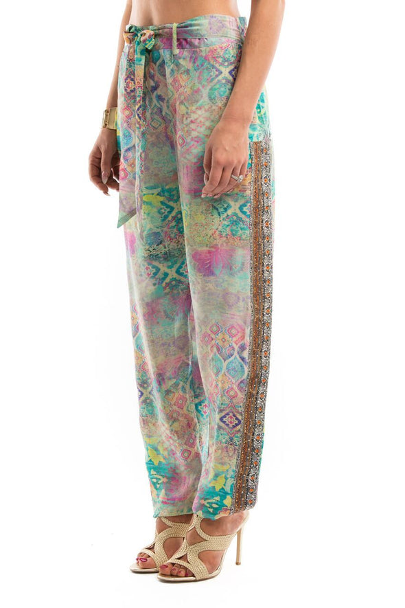 SEYCHELLES COLLECTION - SILK EMBELLISHED TROUSERS