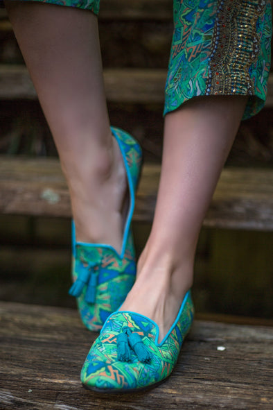 SHOES - EMERALD FOREST, LOAFER WITH GREEN LEATHER TASSLES
