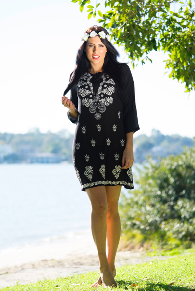 AZTECA - Tunic Dress (Black With White Embroidery) - TheSwankStore - 1
