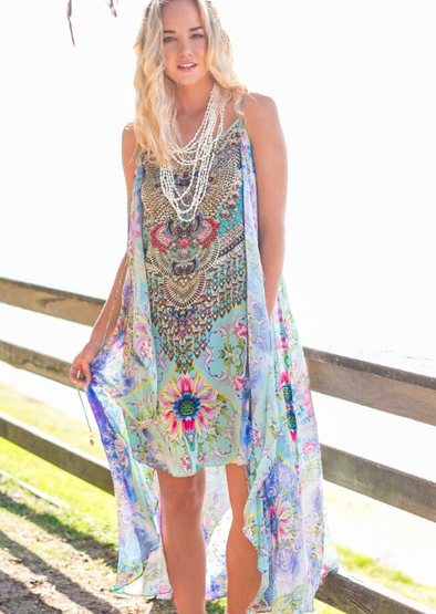 DREAMING LOTUS - Overlay Dress with Flowing Cape