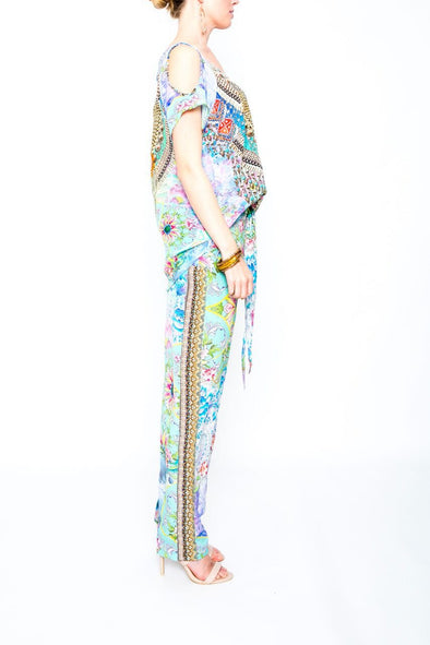 DREAMING LOTUS - SILK EMBELLISHED TROUSERS