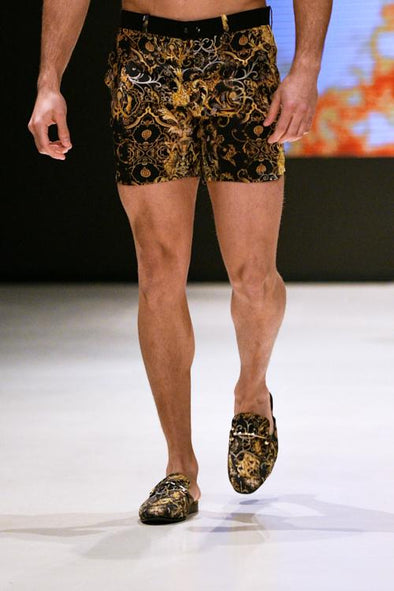 MENS - VALLETTA COLLECTION - RESORT SHORTS IN BLACK & GOLD PATTERN