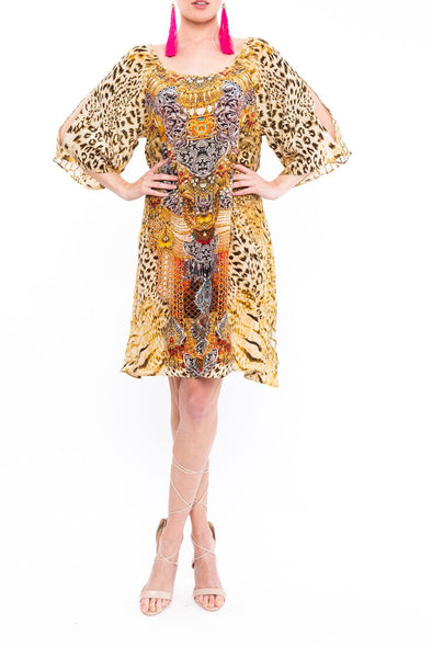 GOLDEN LEOPARD - SLIT SLEEVE DRESS