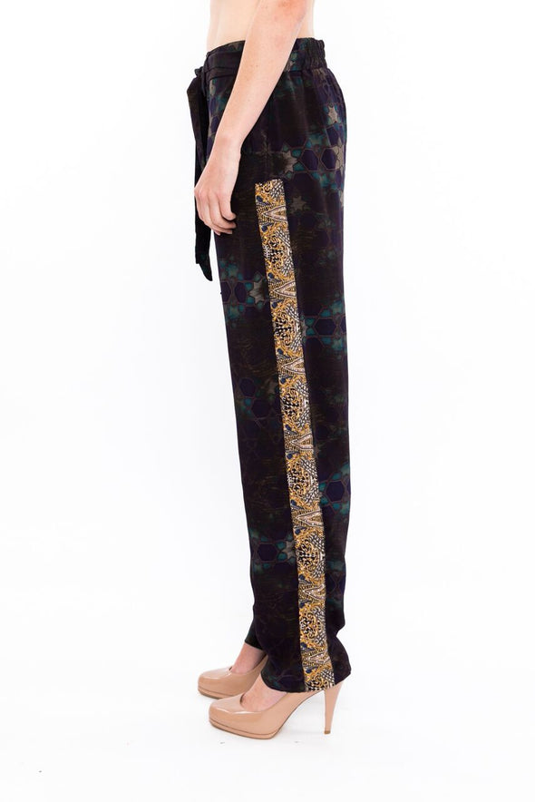 MIDNIGHT COLLECTION - SILK EMBELLISHED TROUSERS