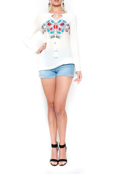 MAYLAN - Tunic Top in White with Colour Embroidery