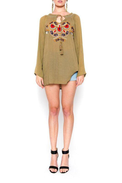 MAYLAN - Tunic Top in Olive with Colour Embroidery