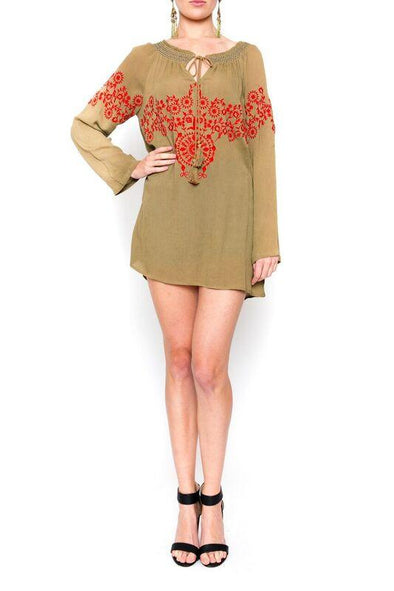 YALLANDA - Tunic Top in Olive with Red Embroidery