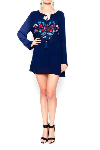 YALLANDA - Tunic Top in Navy Blue with Coloured Embroidery