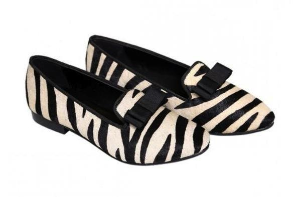 SHOES - ZEBRA FLATS WITH BATWING BOW