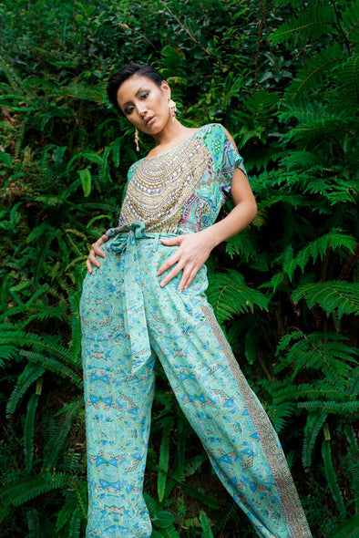 EMERALD FOREST - SILK EMBELLISHED TROUSERS